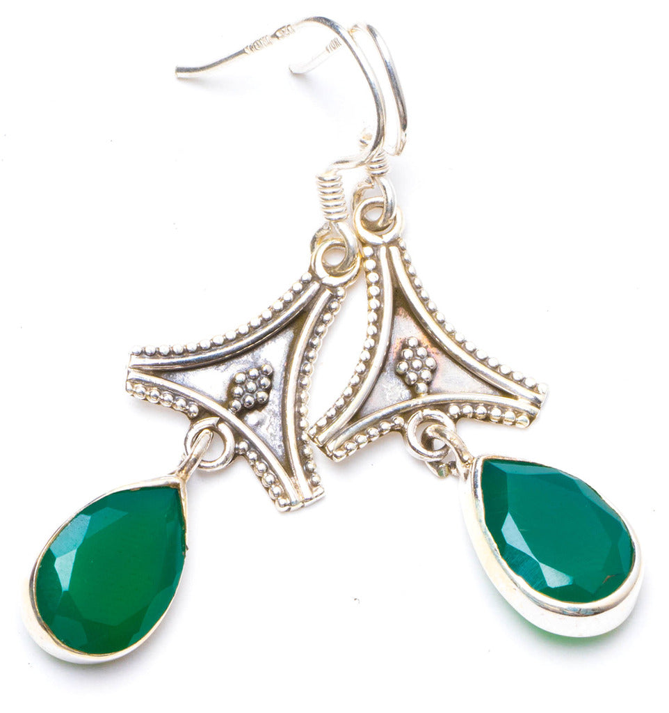 Natural Chrysoprase Handmade Unique 925 Sterling Silver Earrings 1.75