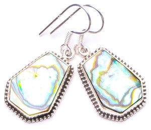 "Natural Abalone Shell Handmade Unique 925 Sterling Silver Earrings 1.25"" Y1239"