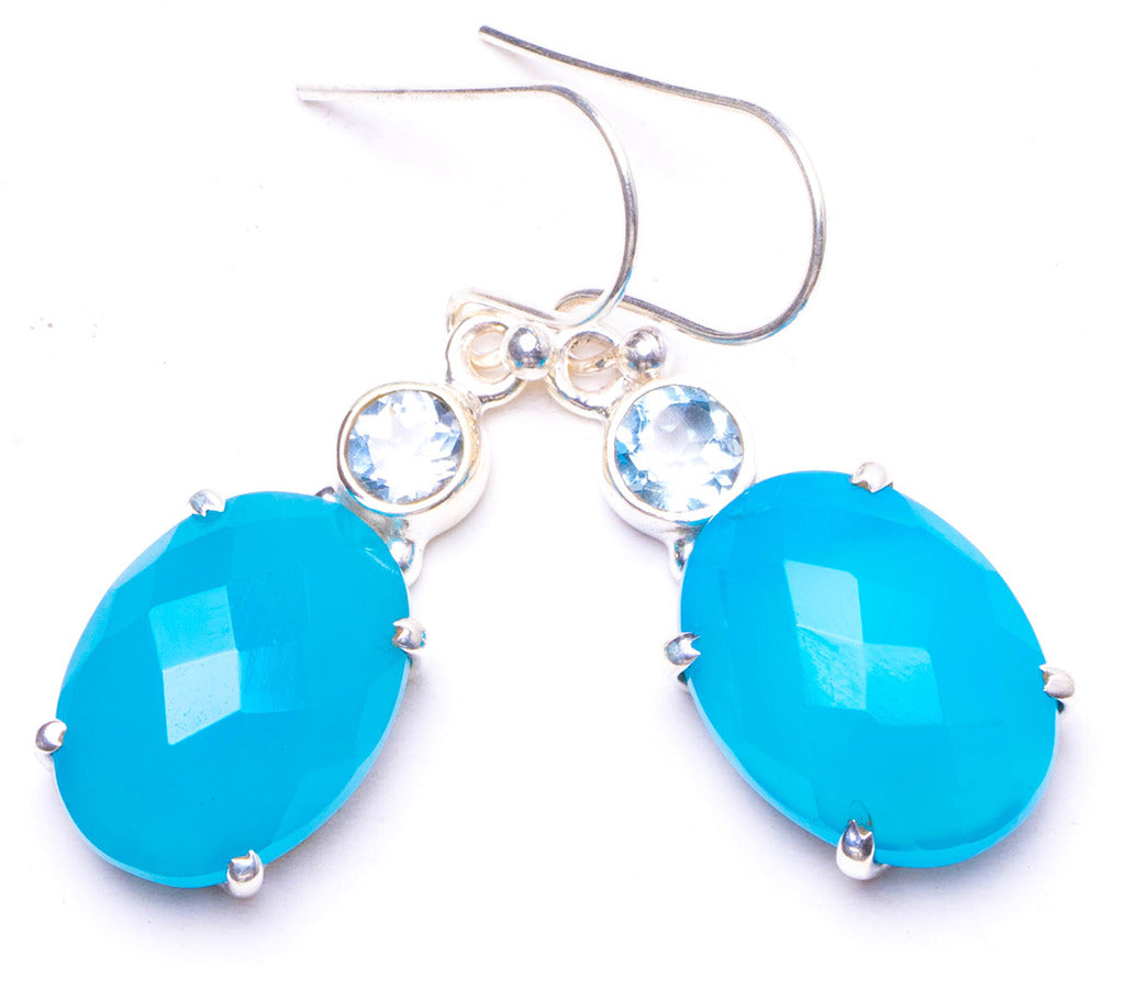 Natural Chalcedony and Blue Topaz Handmade Unique 925 Sterling Silver Earrings 1.25