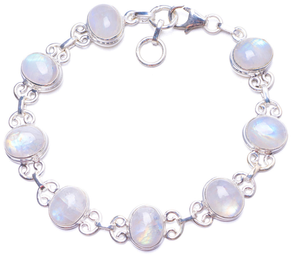 Natural Rainbow Moonstone Handmade Unique 925 Sterling Silver Bracelet 7-7 1/2