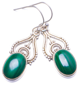 "Natural Malachite Handmade Unique 925 Sterling Silver Earrings 1.5"" Y1413"