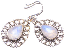 "Natural Rainbow Moonstone Handmade Unique 925 Sterling Silver Earrings 1.5"" Y1445"