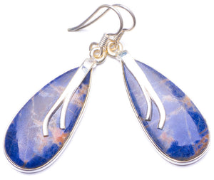 "Natural Navy Sodalite Handmade Unique 925 Sterling Silver Earrings 1.75"" Y1449"