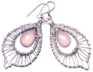 "Natural Rose Quartz Handmade Unique 925 Sterling Silver Earrings 2.25"" Y1466"