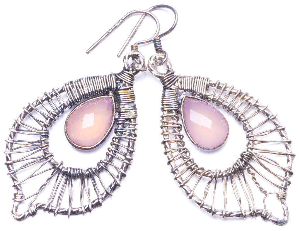 Natural Rose Quartz Handmade Unique 925 Sterling Silver Earrings 2.25