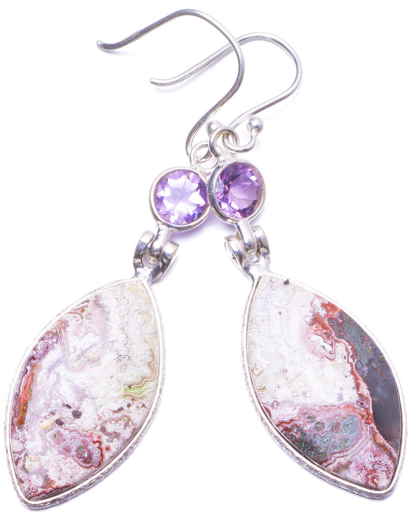 Natural Crazy Lace Agate and Amethyst Handmade Unique 925 Sterling Silver Earrings 2.25