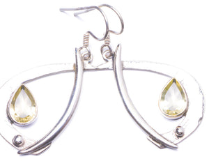 "Natural Citrine Handmade Unique 925 Sterling Silver Earrings 1.75"" Y1479"