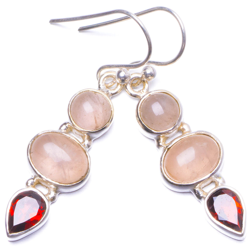 Natural Rose Quartz and Garnet Handmade Unique 925 Sterling Silver Earrings 1.5