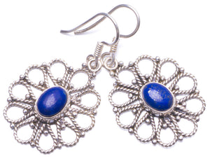 "Natural Lapis Lazuli Handmade Unique 925 Sterling Silver Earrings 1.5"" Y1482"