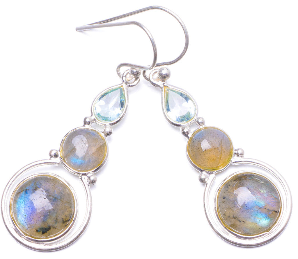 Natural Blue Fire Labradorite and Blue Topaz Handmade Unique 925 Sterling Silver Earrings 1.75