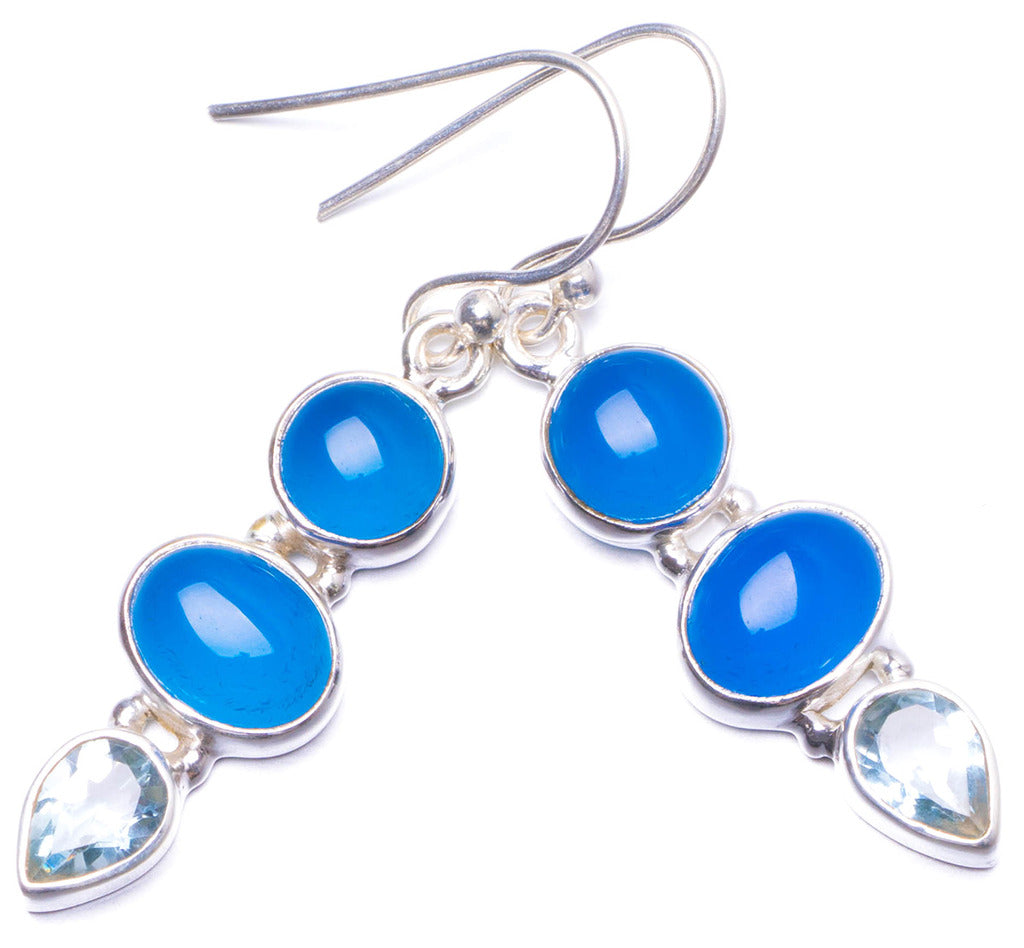 Natural Chalcedony and Blue Topaz Handmade Unique 925 Sterling Silver Earrings 1.5