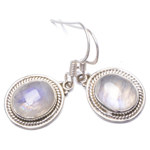 "Natural Rainbow Moonstone Handmade Unique 925 Sterling Silver Earrings 1.25"" Y1509"