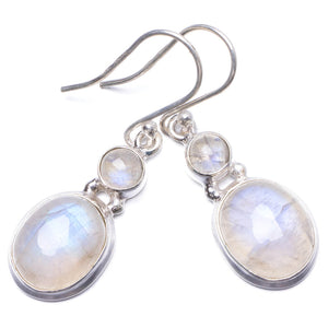 "Natural Rainbow Moonstone Handmade Unique 925 Sterling Silver Earrings 1.5"" Y1515"