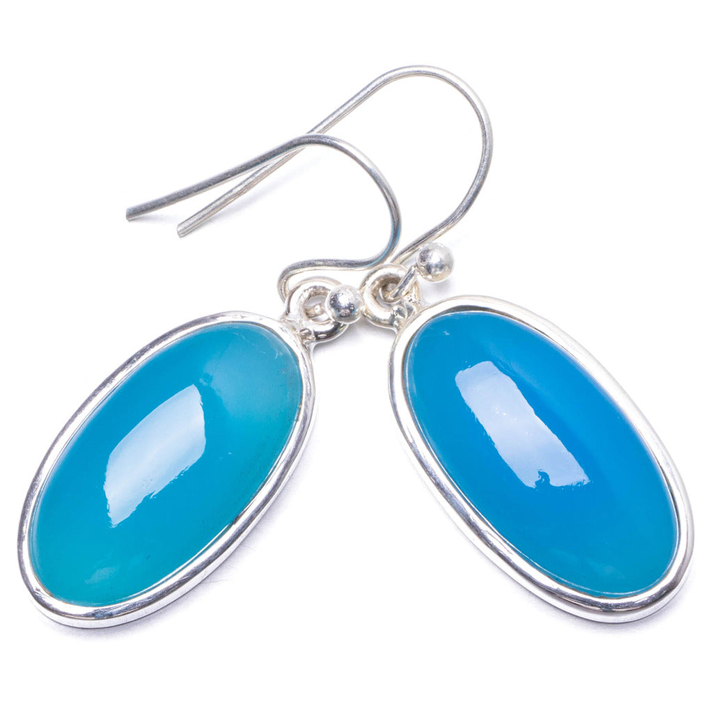 Natural Chalcedony   Handmade Unique 925 Sterling Silver Earrings 1.25