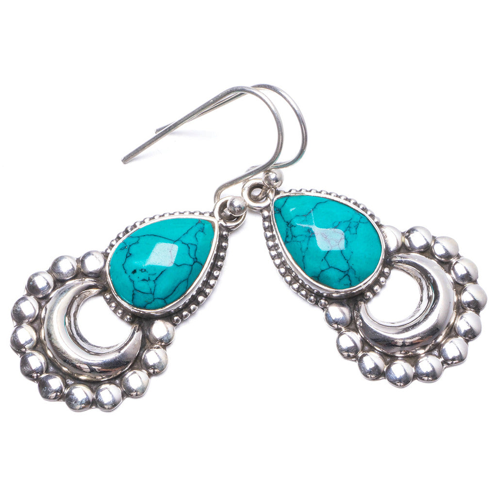 Natural Turquoise Handmade Unique 925 Sterling Silver Earrings 1.5