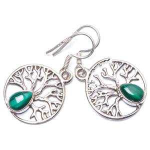 "Natural Malachite Handmade Unique 925 Sterling Silver Earrings 1.25"" Y1556"