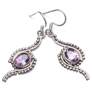 "Natural Amethyst Handmade Unique 925 Sterling Silver Earrings 1.75"" Y1586"