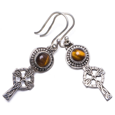 Natural Tiger Eye Handmade Unique 925 Sterling Silver Earrings 1.5