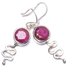"Natural Simulated Cherry Ruby Handmade Unique 925 Sterling Silver Earrings 1.5"" Y1736"