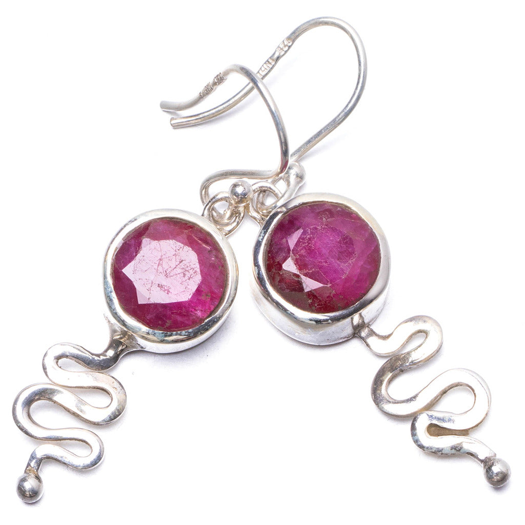 Natural Simulated Cherry Ruby Handmade Unique 925 Sterling Silver Earrings 1.5