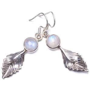 "Natural Rainbow Moonstone Handmade Unique 925 Sterling Silver Earrings 1.75"" Y1744"