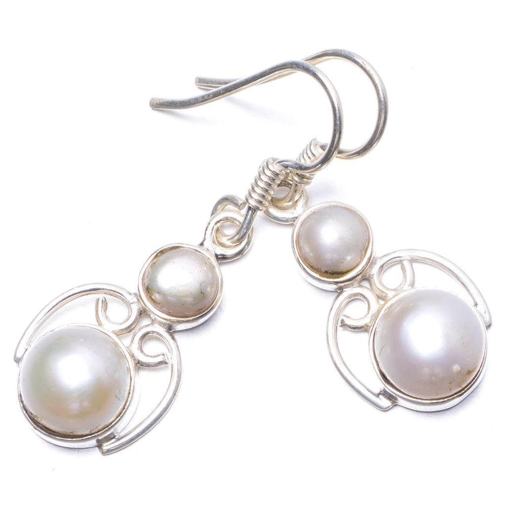 Natural River Pearl Handmade Unique 925 Sterling Silver Earrings 1.25