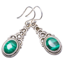 "Natural Malachite Handmade Unique 925 Sterling Silver Earrings 1.5"" Y1754"