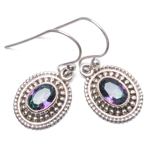 "Natural Mystical Topaz Handmade Unique 925 Sterling Silver Earrings 1"" Y1755"
