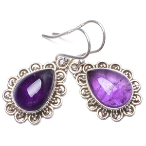"Natural Amethyst Handmade Unique 925 Sterling Silver Earrings 1.25"" Y1797"
