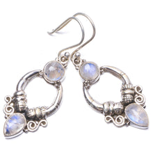 "Natural Rainbow Moonstone Handmade Unique 925 Sterling Silver Earrings 1.75"" Y1799"