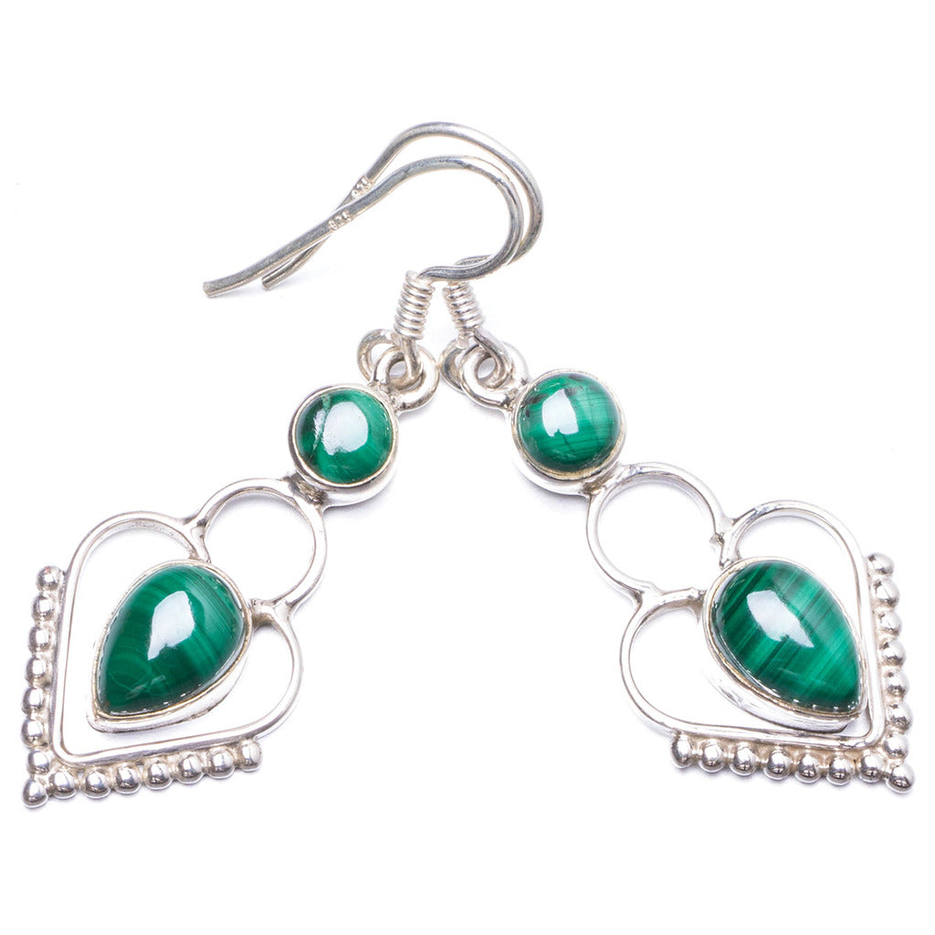 Natural Malachite Handmade Unique 925 Sterling Silver Earrings 1.5