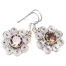 "Natural Smoky Quartz Handmade Unique 925 Sterling Silver Earrings 1.25"" Y1866"