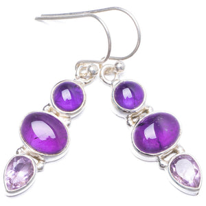 "Natural Amethyst Handmade Unique 925 Sterling Silver Earrings 1.5"" Y1894"