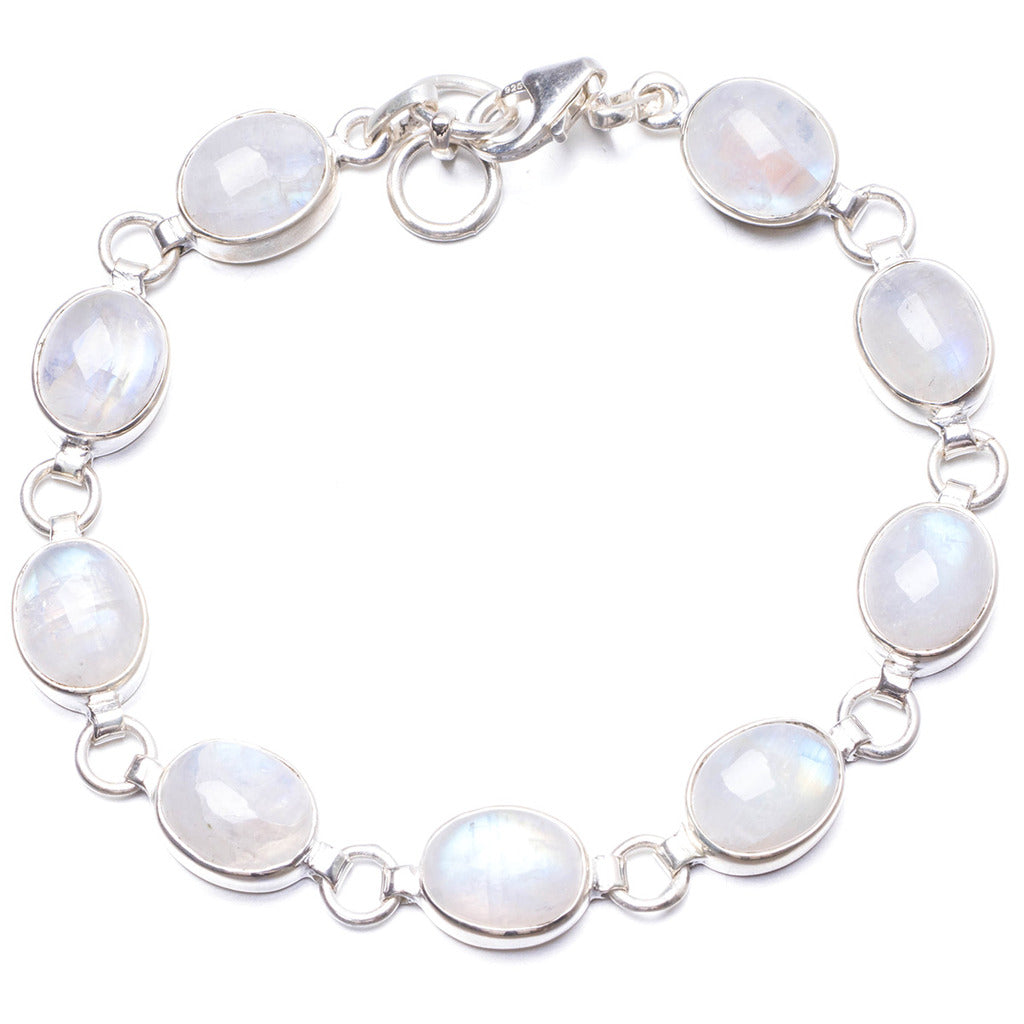 Natural Rainbow Moonstone Handmade Unique 925 Sterling Silver Bracelet  7 1/4-7 3/4