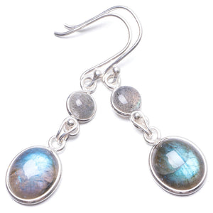 "Natural Labradorite   Handmade Unique 925 Sterling Silver Earrings 1 3/4"" Y2051"