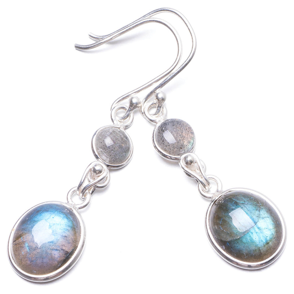 Natural Labradorite   Handmade Unique 925 Sterling Silver Earrings 1 3/4
