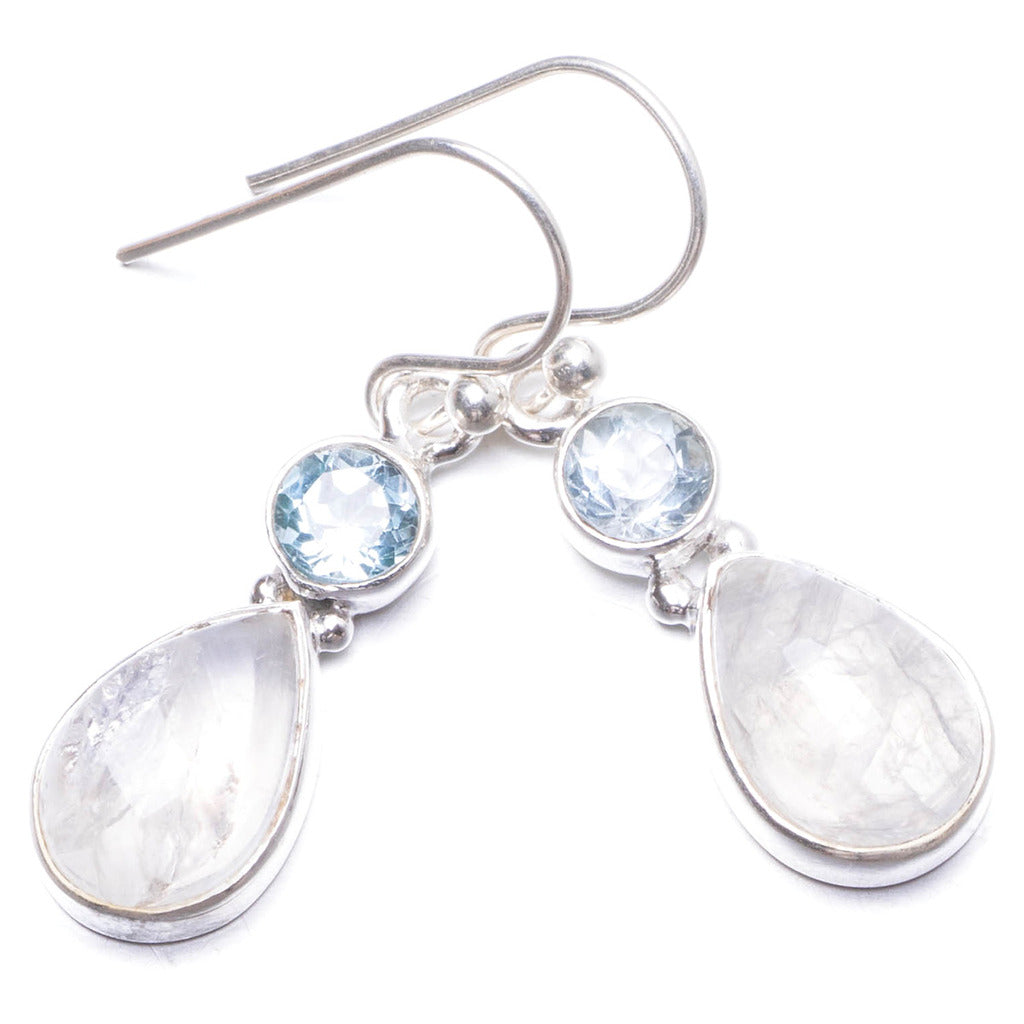 Natural Rainbow Moonstone and Blue Topaz Handmade Unique 925 Sterling Silver Earrings 1 1/4
