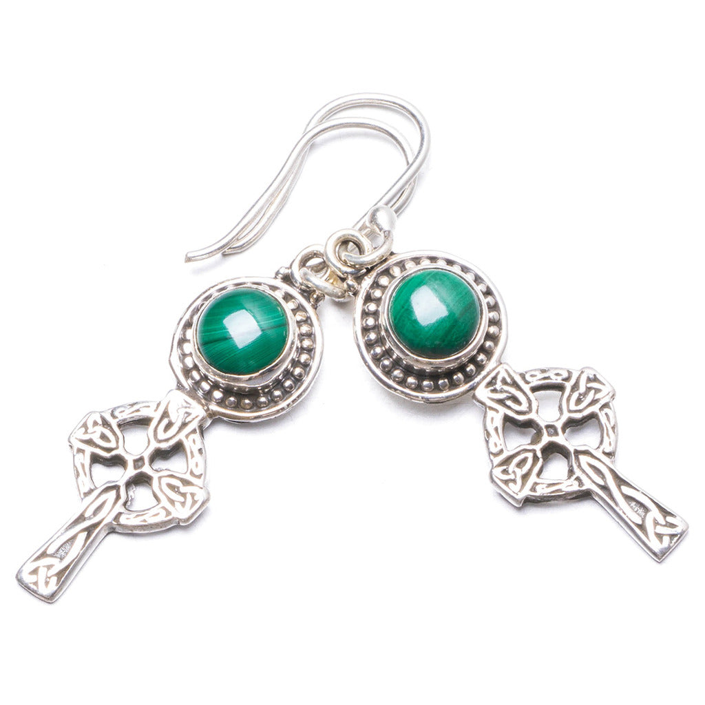 Natural Malachite Handmade Unique 925 Sterling Silver Earrings 1 3/4