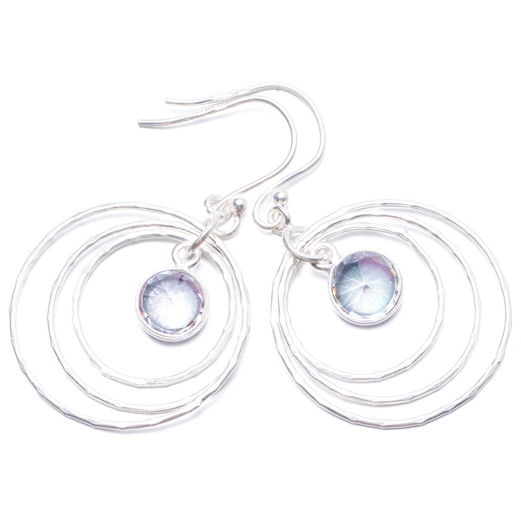 Natural Mystical Topaz Handmade Unique 925 Sterling Silver Earrings 1 3/4