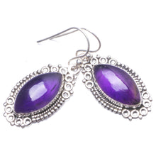"Natural Amethyst Handmade Unique 925 Sterling Silver Earrings 1 1/2"" Y2120"
