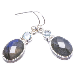 "Natural Labradorite and Green Amethyst Handmade Unique 925 Sterling Silver Earrings 1 1/4"" Y2130"