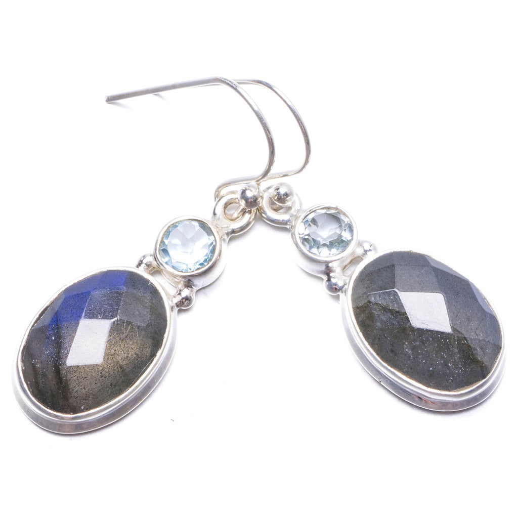 Natural Labradorite and Green Amethyst Handmade Unique 925 Sterling Silver Earrings 1 1/4