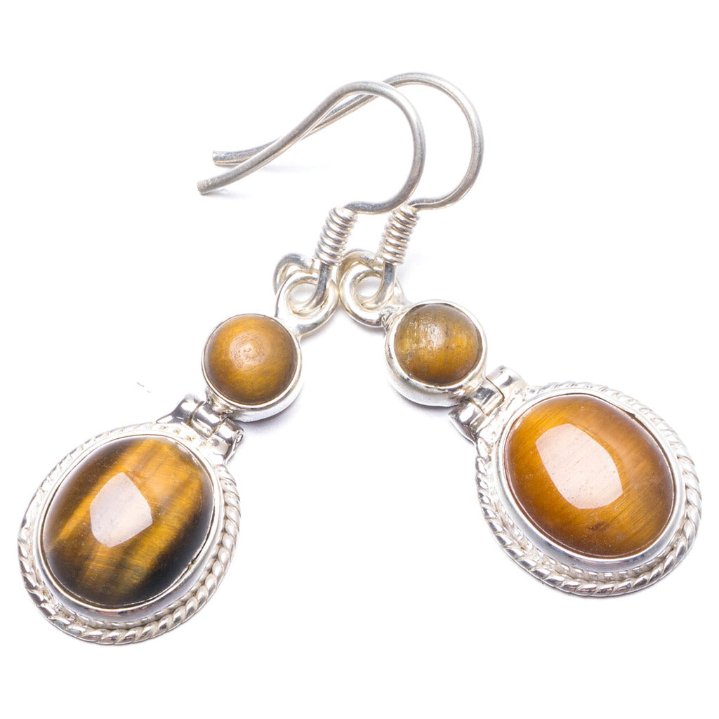 Natural Tiger Eye Handmade Unique 925 Sterling Silver Earrings 1 1/2