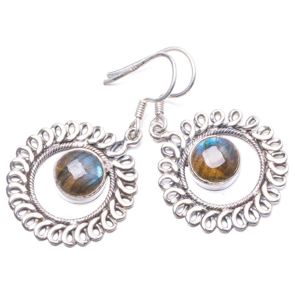 Natural Labradorite  Handmade Unique 925 Sterling Silver Earrings 1 1/2