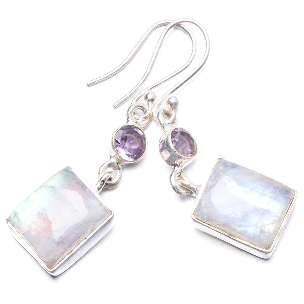 Natural Rainbow Moonstone and Amethyst Handmade Unique 925 Sterling Silver Earrings 1 3/4