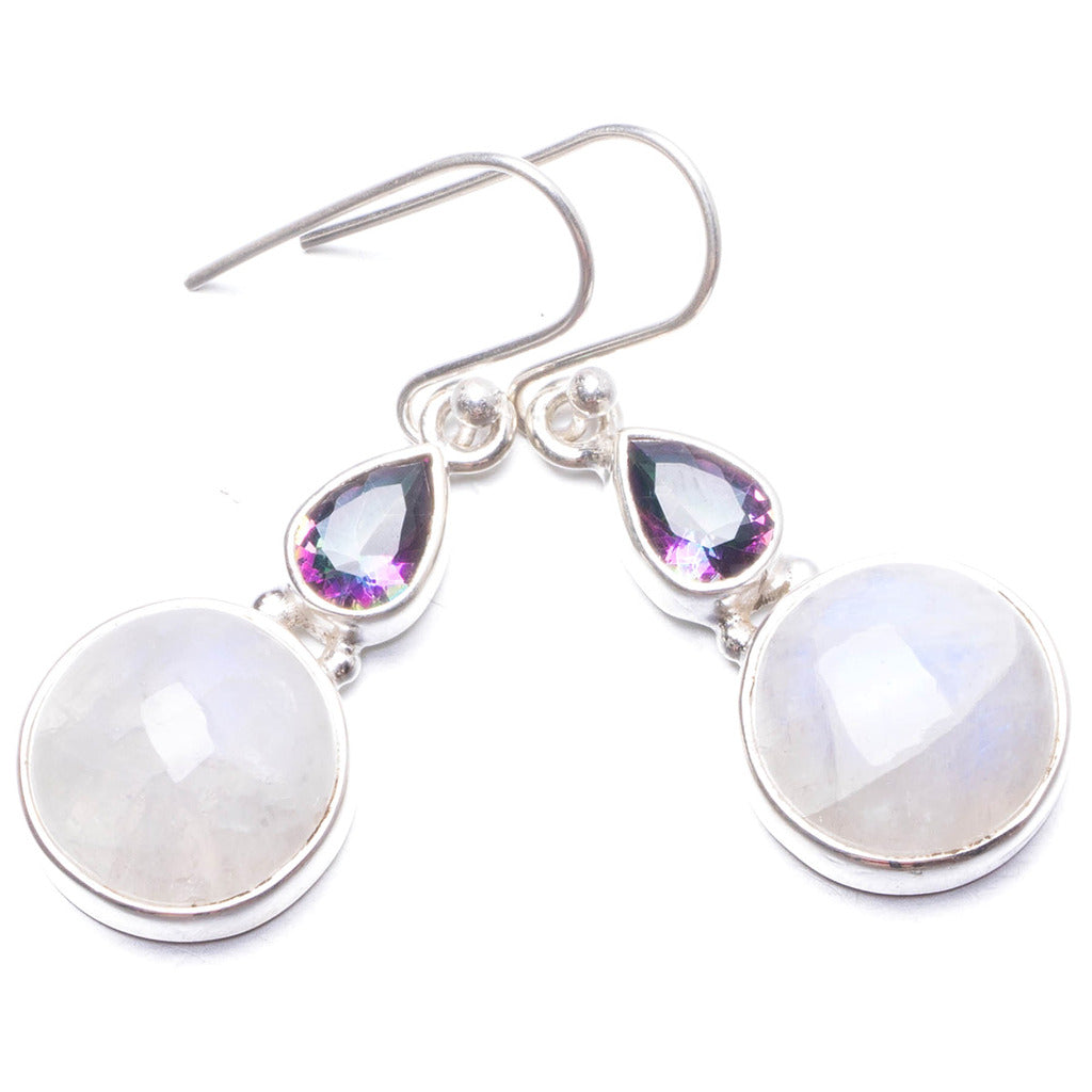 Natural Rainbow Moonstone and Mystical Topaz Handmade Unique 925 Sterling Silver Earrings 1 1/2
