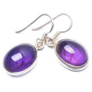 "Natural Amethyst Handmade Unique 925 Sterling Silver Earrings 1 1/4"" Y2186"