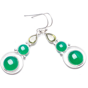 "Natural Chrysoprase and Peridot Handmade Unique 925 Sterling Silver Earrings 1 3/4"" Y2194"