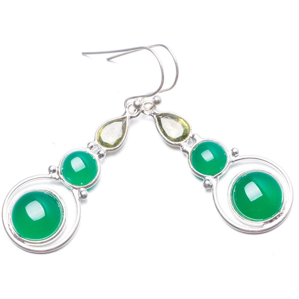 Natural Chrysoprase and Peridot Handmade Unique 925 Sterling Silver Earrings 1 3/4