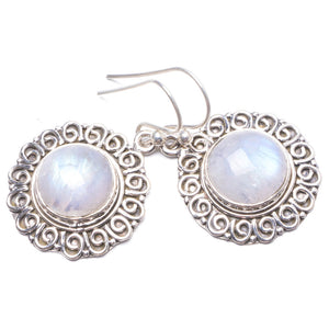 "Natural Rainbow Moonstone Handmade Unique 925 Sterling Silver Earrings 1 1/4"" Y2197"